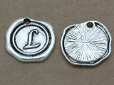 L - Wax Seal Stamp - Pewter Charm 18mm (PW769)