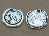 N - Wax Seal Stamp - Pewter Charm 18mm (PW771)
