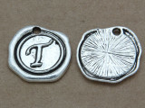 T - Wax Seal Stamp - Pewter Charm 18mm (PW777)