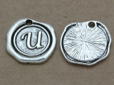 U - Wax Seal Stamp - Pewter Charm 18mm (PW778)