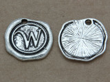 W - Wax Seal Stamp - Pewter Charm 18mm (PW780)