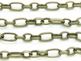 "Antique Brass Plated Iron Oval & Round Link Chain 12mm - 36""  (CHAIN50)"