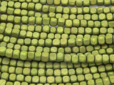 Olive Green Cube Wood Beads 4mm (WD891)