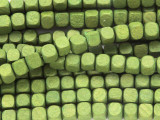 Olive Green Cube Wood Beads 6mm (WD912)