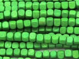 Green Cube Wood Beads 6mm (WD913)