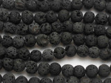 Black Polished Lava Rock Round Beads 10mm (LAV90)