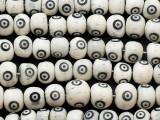 White & Black Carved Bone Beads 8-10mm (B7126)