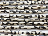 Batik Tube Bone Beads w/Jigsaw 28-30mm - Kenya (BA7011)