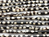 Batik Tube Bone Beads w/Polka Dots 26-31mm - Kenya (BA7012)