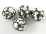 Gray Ceramic & Metal Bead 17mm (CM67)