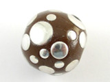 Brown Ceramic & Metal Bead 28mm (CM71)