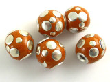 Light Orange Ceramic & Metal Bead 14mm (CM74)