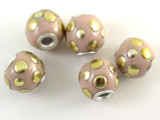 Pink Ceramic & Metal Bead 13mm (CM78)