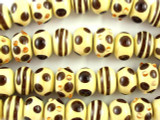 Beige w/Stripes & Spots Lampwork Glass Beads 13mm (LW1405)