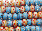Blue and Beige w/Eyes Lampwork Glass Beads 13mm (LW1406)