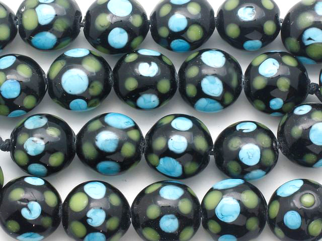15 pcs Lampwork Beads 8mm Black with Pink Flowers YDA41
