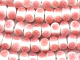 White w/Pink Flowers Lampwork Glass Beads 14mm (LW1419)