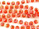 Red w/Pink Roses Faceted Glass Beads 9mm (CRY167)