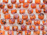 Orange w/Pink Roses Faceted Glass Beads 10mm (CRY169)