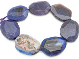 Purple Agate Slab Gemstone Beads 55-60mm (AS662)