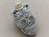 Sugar Skull Ceramic Cork Bottle Pendant 44mm (AP1818)