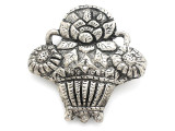 Basket of Flowers Silver Aluminum Pendant 66mm (AP1749)