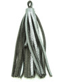 "Metallic Silver Leather Tassel - Small 4"" (LR50)"