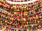 Yellow, Black & Red Vinyl Disc Beads 3mm (VY199)
