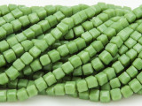 Leaf Green Cube Crystal Glass Beads 4mm (CRY181)
