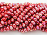 Fuchsia Pink w/Metallic Finish Crystal Glass Beads 6mm (CRY216)