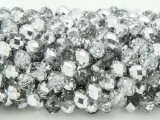 Clear w/Metallic Silver Crystal Glass Beads 8mm (CRY240)
