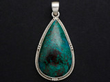 Sterling Silver & Chrysocolla Pendant 45mm (GSP790)
