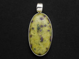 Sterling Silver & Stichtite in Serpentine Pendant 40mm (GSP818)