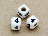 "Ceramic Alphabet Bead ""4"" - 6mm (CER14)"