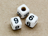 "Ceramic Alphabet Bead ""6 or 9"" - 6mm (CER16)"