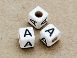 "Ceramic Alphabet Bead ""A"" - 6mm (CER19)"