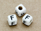 "Ceramic Alphabet Bead ""F"" - 6mm (CER24)"