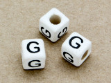 "Ceramic Alphabet Bead ""G"" - 6mm (CER25)"