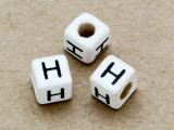 "Ceramic Alphabet Bead ""H"" - 6mm (CER26)"