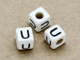 "Ceramic Alphabet Bead ""U"" - 6mm (CER39)"