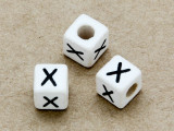 "Ceramic Alphabet Bead ""X"" - 6mm (CER42)"