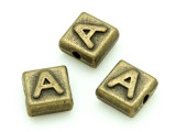 Brass Pewter Bead - A - Square 10mm (PB619)