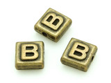Brass Pewter Bead - B - Square 10mm (PB620)