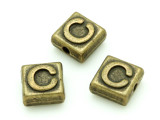 Brass Pewter Bead - C - Square 10mm (PB621)