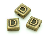 Brass Pewter Bead - D - Square 10mm (PB622)