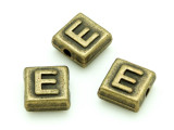 Brass Pewter Bead - E - Square 10mm (PB623)