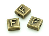 Brass Pewter Bead - F - Square 10mm (PB624)