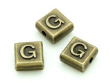 Brass Pewter Bead - G - Square 10mm (PB625)