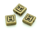 Brass Pewter Bead - H - Square 10mm (PB626)