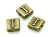 Brass Pewter Bead - I - Square 10mm (PB627)
